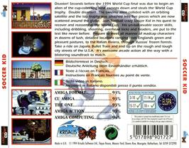 Box back cover for Soccer Kid on the Commodore Amiga CD32.