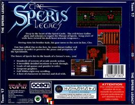 Box back cover for Speris Legacy on the Commodore Amiga CD32.