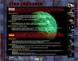 Box back cover for Star Crusader on the Commodore Amiga CD32.