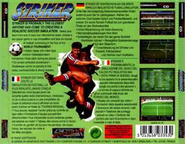 Box back cover for Striker on the Commodore Amiga CD32.