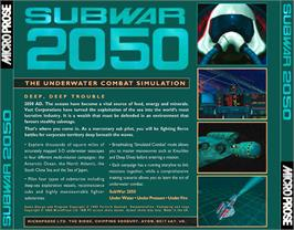Box back cover for Subwar 2050 on the Commodore Amiga CD32.