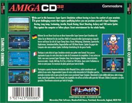 Box back cover for Summer Olympix on the Commodore Amiga CD32.