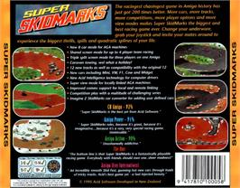 Box back cover for Super Skidmarks on the Commodore Amiga CD32.