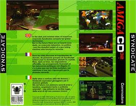 Box back cover for Syndicate on the Commodore Amiga CD32.