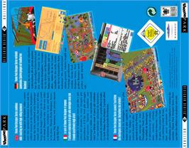 Box back cover for Theme Park on the Commodore Amiga CD32.