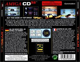 Box back cover for Top Gear 2 on the Commodore Amiga CD32.