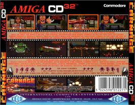 Box back cover for Total Carnage on the Commodore Amiga CD32.