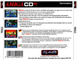 Box back cover for Trolls on the Commodore Amiga CD32.