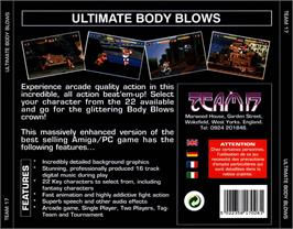 Box back cover for Ultimate Body Blows on the Commodore Amiga CD32.