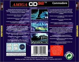Box back cover for Universe on the Commodore Amiga CD32.
