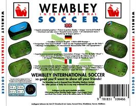 Box back cover for Wembley International Soccer on the Commodore Amiga CD32.
