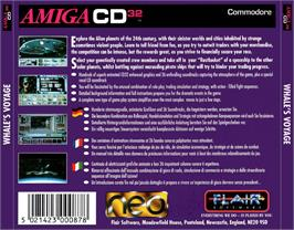 Box back cover for Whale's Voyage on the Commodore Amiga CD32.