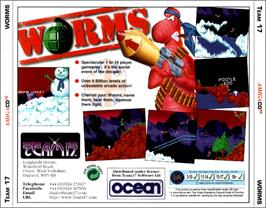 Box back cover for Worms on the Commodore Amiga CD32.