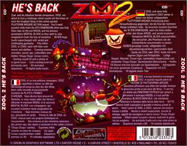 Box back cover for Zool 2 on the Commodore Amiga CD32.