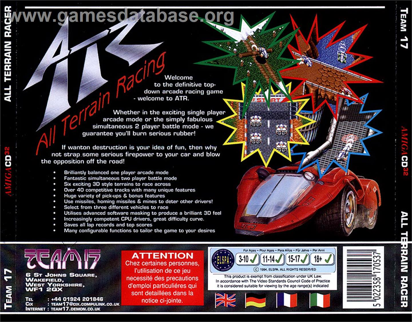 ATR: All Terrain Racing - Commodore Amiga CD32 - Artwork - Box Back