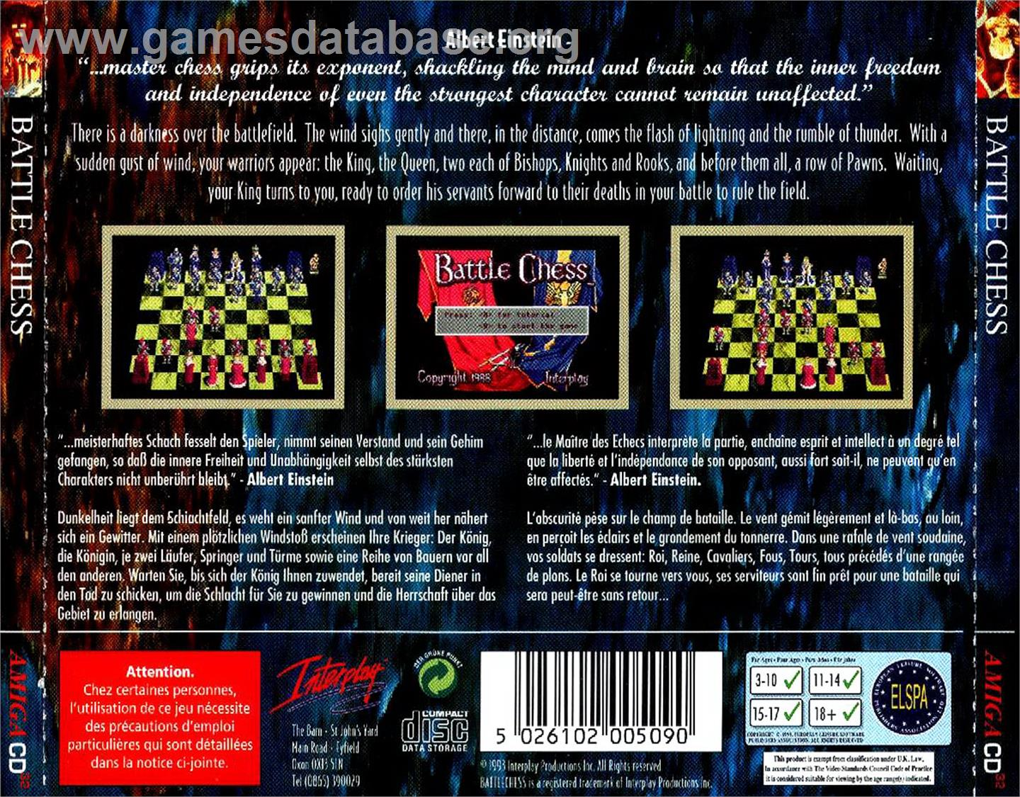 Box back cover for Battle Chess on the Commodore Amiga CD32.