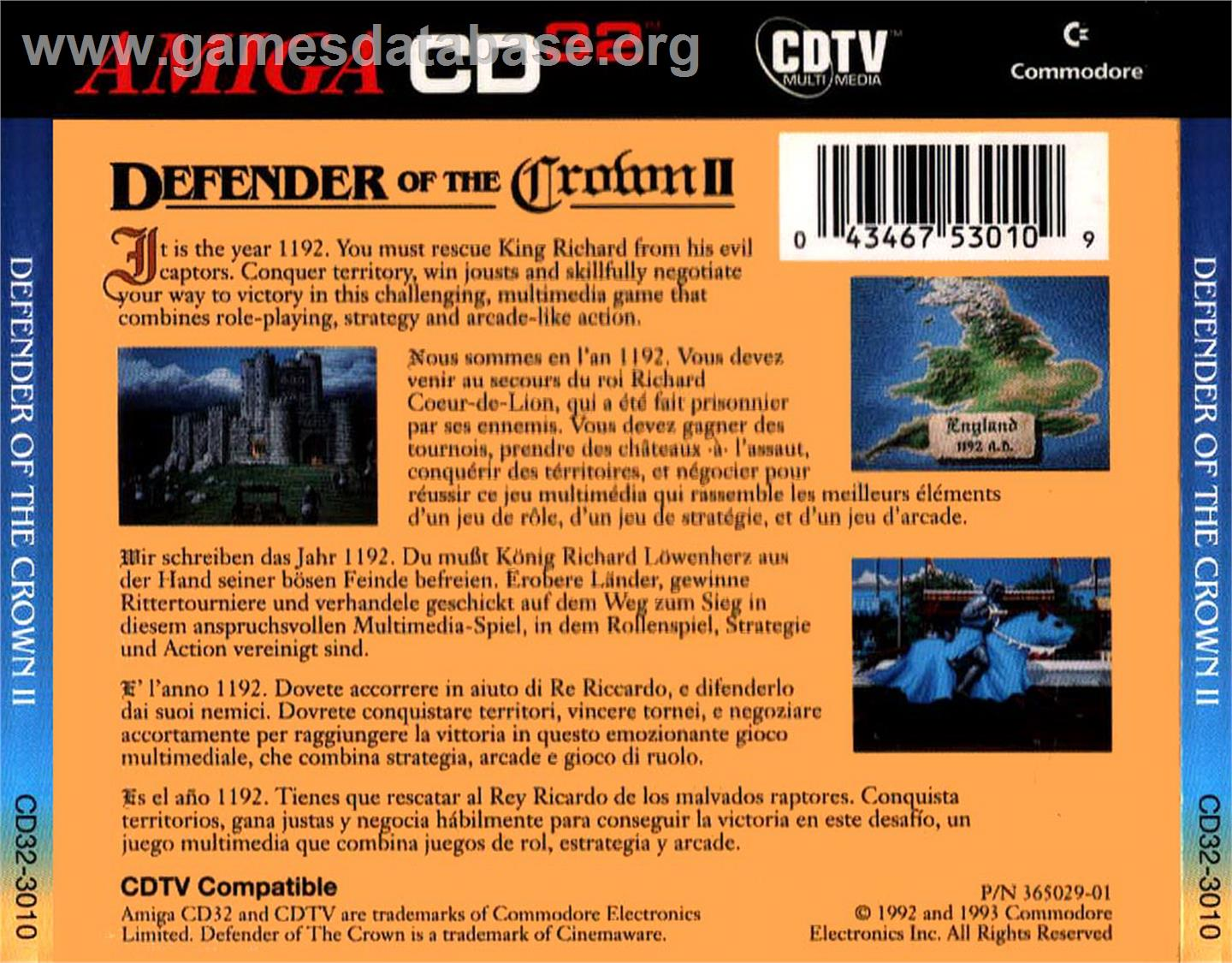 Box back cover for Defender of the Crown 2 on the Commodore Amiga CD32