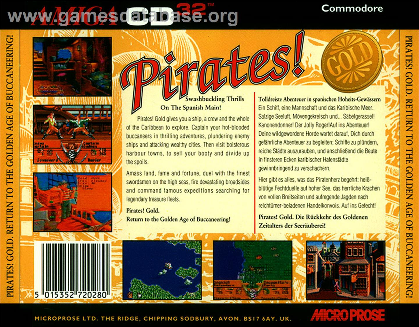 Box back cover for Pirates! Gold on the Commodore Amiga CD32.