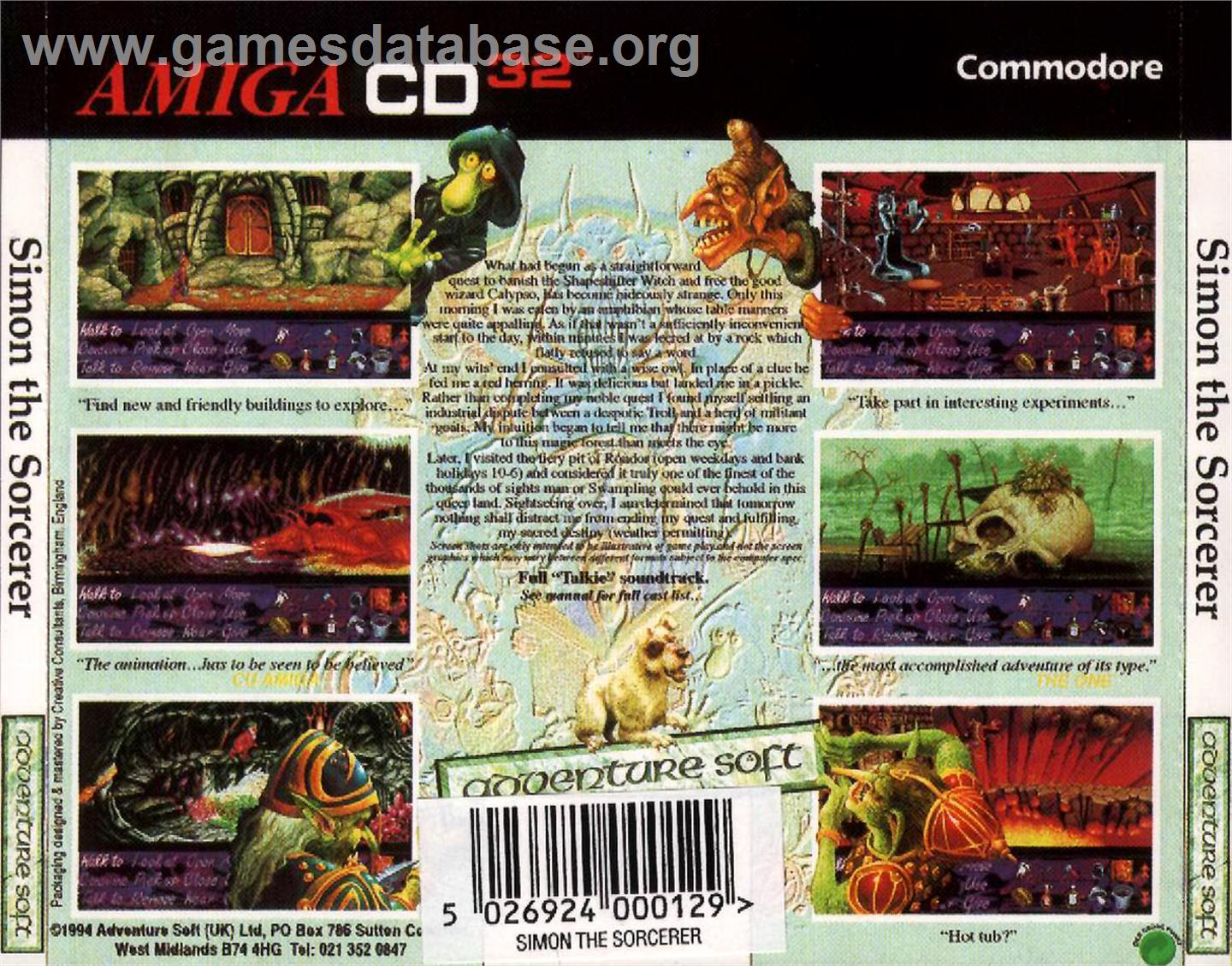 Simon the Sorcerer - Commodore Amiga CD32 - Artwork - Box Back