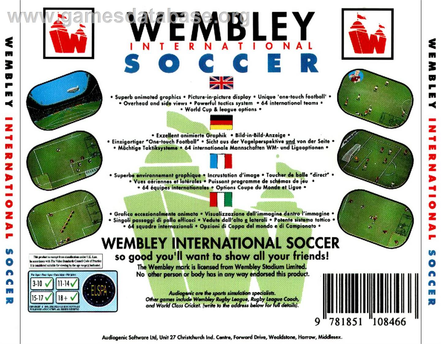 Wembley International Soccer - Commodore Amiga CD32 - Artwork - Box Back