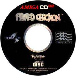 Artwork on the CD for Alfred Chicken on the Commodore Amiga CD32.