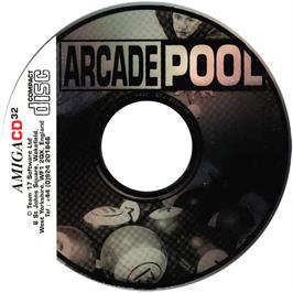 Artwork on the CD for Arcade Pool on the Commodore Amiga CD32.