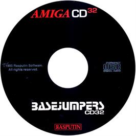 Artwork on the CD for Base Jumpers on the Commodore Amiga CD32.