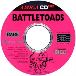 Artwork on the CD for Battle Toads on the Commodore Amiga CD32.