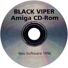 Artwork on the CD for Black Viper on the Commodore Amiga CD32.