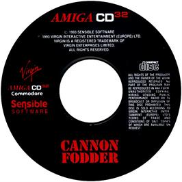 Artwork on the CD for Cannon Fodder on the Commodore Amiga CD32.
