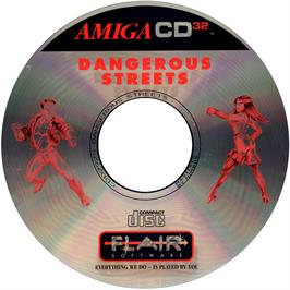 Artwork on the CD for Dangerous Streets on the Commodore Amiga CD32.