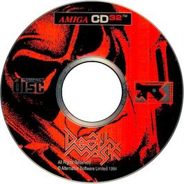 Artwork on the CD for Death Mask on the Commodore Amiga CD32.