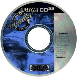 Artwork on the CD for Disposable Hero on the Commodore Amiga CD32.