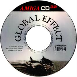 Artwork on the CD for Global Effect on the Commodore Amiga CD32.