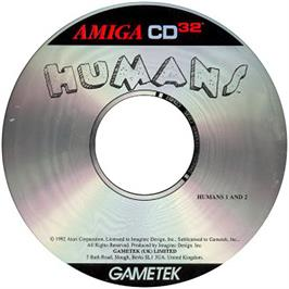 Artwork on the CD for Humans 1 and 2 on the Commodore Amiga CD32.