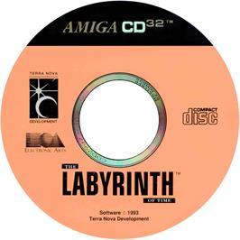 Artwork on the CD for Labyrinth of Time on the Commodore Amiga CD32.