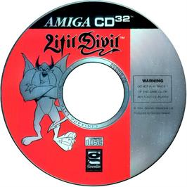 Artwork on the CD for Litil Divil on the Commodore Amiga CD32.