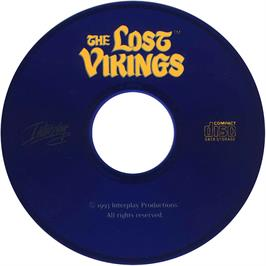 Artwork on the CD for Lost Vikings on the Commodore Amiga CD32.