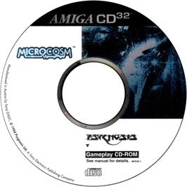 Artwork on the CD for Microcosm on the Commodore Amiga CD32.