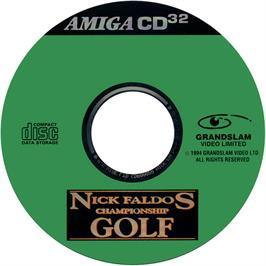 Artwork on the CD for Nick Faldo's Championship Golf on the Commodore Amiga CD32.