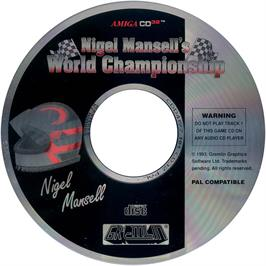 Artwork on the CD for Nigel Mansell's World Championship on the Commodore Amiga CD32.
