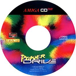 Artwork on the CD for Power Drive on the Commodore Amiga CD32.