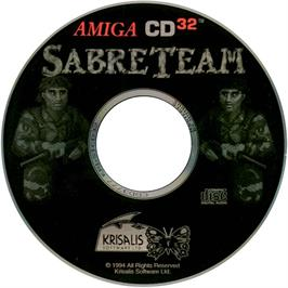 Artwork on the CD for Sabre Team on the Commodore Amiga CD32.