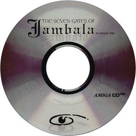 Artwork on the CD for Seven Gates of Jambala on the Commodore Amiga CD32.