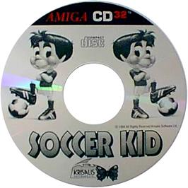 Artwork on the CD for Soccer Kid on the Commodore Amiga CD32.