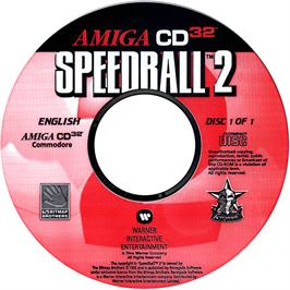 Artwork on the CD for Speedball 2: Brutal Deluxe on the Commodore Amiga CD32.