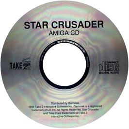 Artwork on the CD for Star Crusader on the Commodore Amiga CD32.