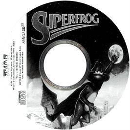 Artwork on the CD for Super Frog on the Commodore Amiga CD32.