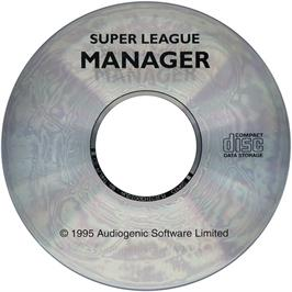 Artwork on the CD for Super League Manager on the Commodore Amiga CD32.
