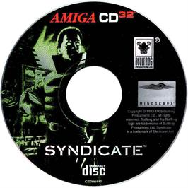 Artwork on the CD for Syndicate on the Commodore Amiga CD32.